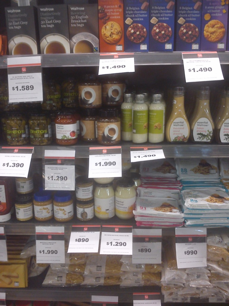Waitrose products at Unimarc (during our visit in July 2013)