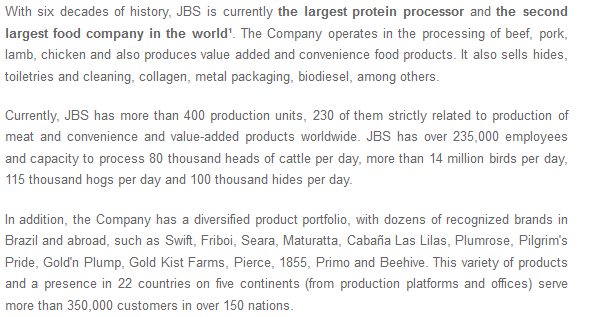 From JBS investor relations website.